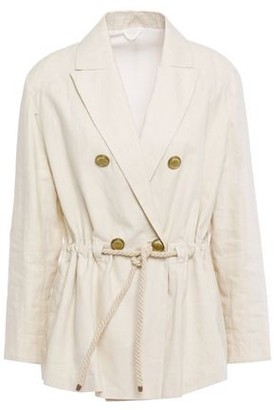 Brunello Cucinelli Double-breasted Gathered Bead-embellished Linen And Cotton-blend Blazer