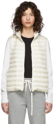 Moncler Off-White Down Knit Zip-Up Jacket