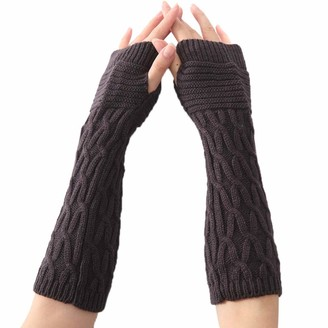 Women'S Wool Arm Warmers Pingtr - Women Winter Wrist Arm Warmer Solid Knitted Long Fingerless Gloves Mitten
