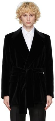 Dolce & Gabbana Black Velvet Belted Blazer