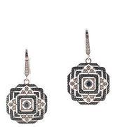 Rarities Sterling Silver Blue White Diamond Art Deco Drop Earrings New $1250