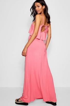 boohoo Tie Back Maxi Dress