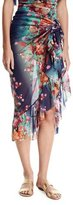 Fuzzi Floral-Print Tulle Ruffle-Trim Sarong Coverup, Blue
