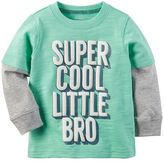 "Carter's Baby Boy Super Cool Little Bro"" Mock-Layered Long Sleeve Graphic Tee"