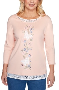 Alfred Dunner Pearls of Wisdom Butterfly Embroidered Lace-Trimmed Top