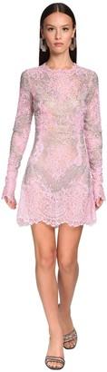 Ermanno Scervino Embellished Sheer Lace Mini Dress