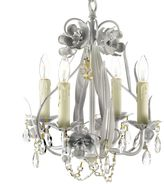 Bed Bath & Beyond Wrought Iron & Crystal 4-Light Chandelier in White