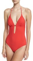 Tory Burch Gemini Link One-Piece Swimsuit, Red