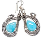 "Ana Silver Co. Ana Silver Co Rare Larimar 925 Sterling Silver Earrings 1 3/4"" - Handmade Fashion Gemstone Jewelry EARR334630"
