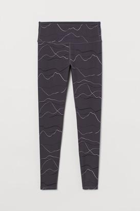 H&M Sports Leggings High Waist - Gray