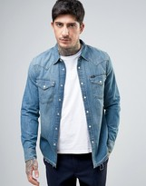 Lee Denim Western Slim Fit Shirt Deep Sea Wash