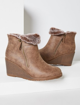 Lane Bryant Emma Wedge Ankle Boot With Faux-Fur Lining