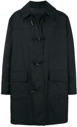 Hermes removable hood logo duffle coat