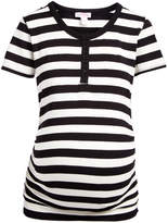 Off-White Times 2 Women's Tee Shirts BLACK & Black Stripe Maternity Button-Front Tee - Plus Too