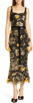 Marchesa Floral Applique Midi Cocktail Dress