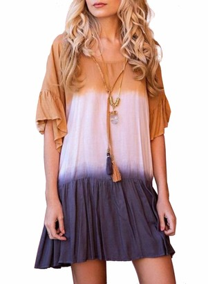 FIYOTE Women Summer Casual Dress Gradient Dress Flare Sleeve Short Sleeve Women's Dress Khaki