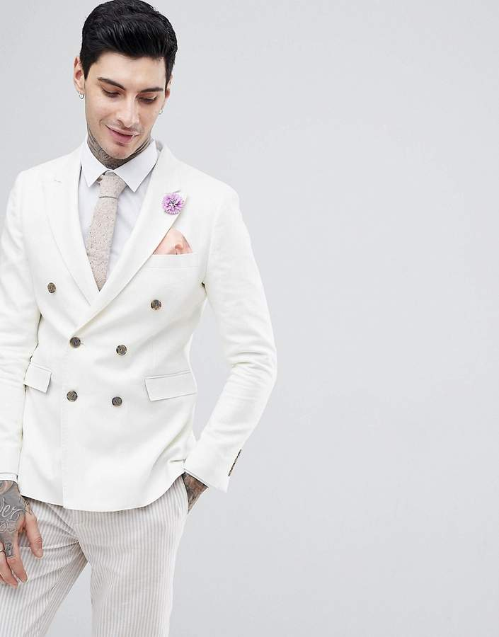 d7c775ea Mens White Double Breasted Blazer - ShopStyle