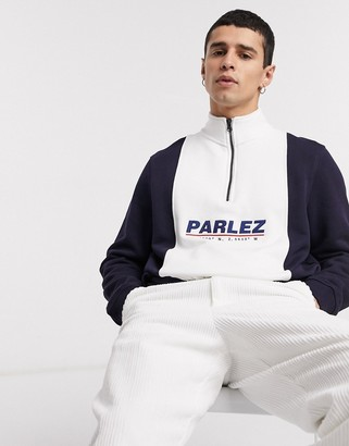 Parlez Fife half-zip sweatshirt in white/navy