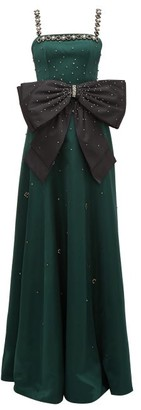 Erdem Ravenna Crystal-embellished Satin Gown - Womens - Green Multi