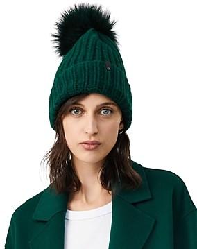 Mackage Doris Fox Fur Pom-Pom Beanie