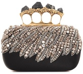 Alexander McQueen Embellished satin box clutch