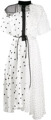 Sacai Polka Dot Patchwork Shirt Dress