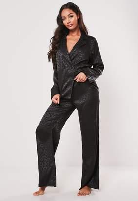 Missguided Premium Black Jacquard Leopard Print Pyjama Set
