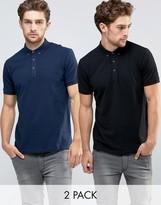 Asos 2 Pack Pique Polo Shirt In Navy/Black