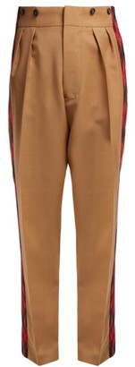 No.21 No. 21 - Tartan-stripe High-rise Trousers - Camel