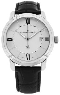 Stuhrling Original Alexander Watch A111-02, Stainless Steel Case on Black Embossed Genuine Leather Strap