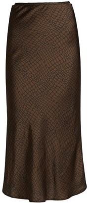 Andamane Bella Printed Satin Midi Slip Skirt