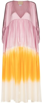Anaak Airi dip tie-dye silk dress