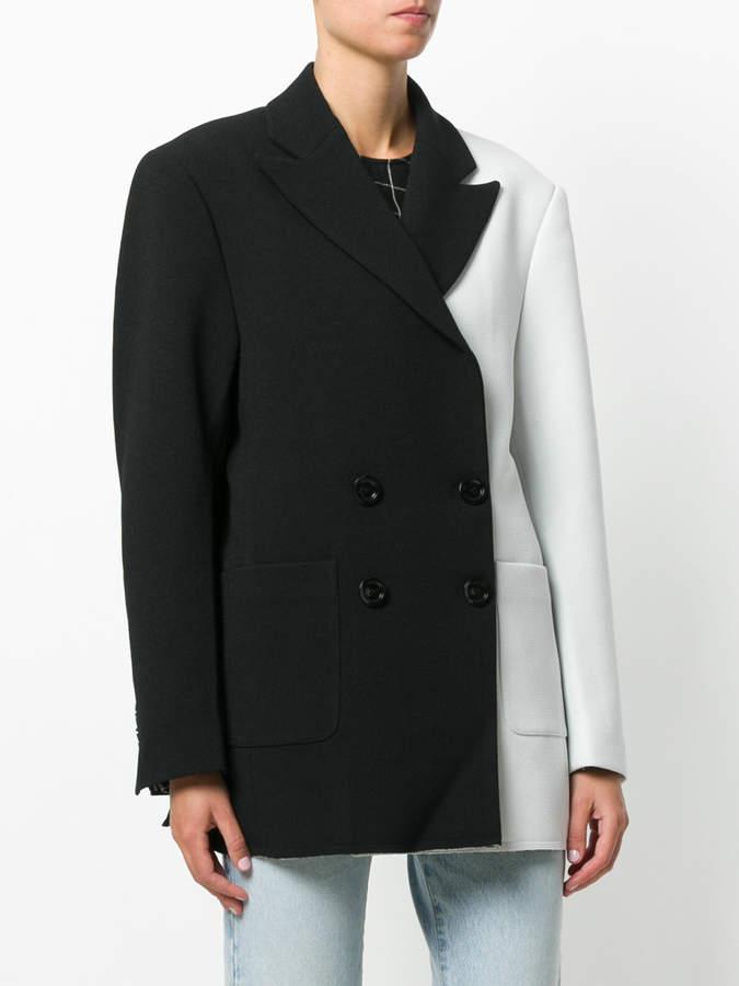 Marques Almeida Marques'almeida two tone double breasted coat