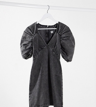 Reclaimed Vintage inspired dress in washed black denim