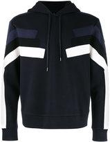 Neil Barrett stripe front hoodie - men - Cotton/Polyurethane/Spandex/Elastane/Viscose - XS