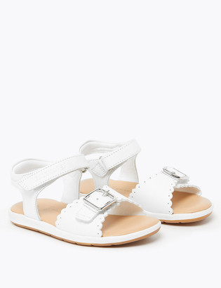 Marks and Spencer Kids Scalloped Leather Sandals (4 Small - 12 Small)