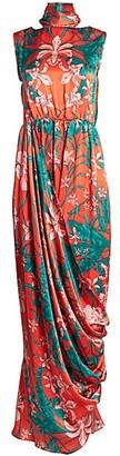 Johanna Ortiz Allure Senses Floral Satin Charmeuse Maxi Dress