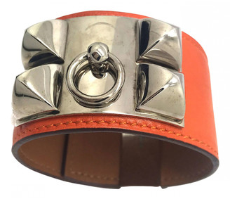 Hermã ̈S HermAs Collier de chien Orange Leather Bracelets