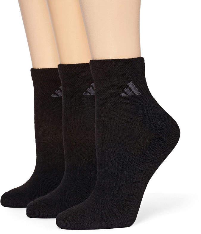 adidas 3-pk. ClimaLite Cushioned Quarter Socks