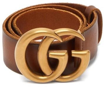 Gucci GG-logo Leather Belt - Tan