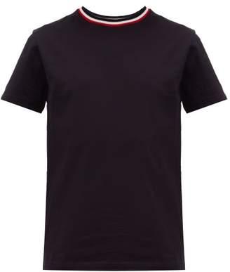 Moncler Tricolour Trim Cotton Jersey T Shirt - Mens - Navy