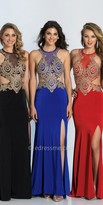 Dave and Johnny Jersey Gold Embroidered Open Back Prom Dress