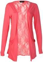 My1stWish Womens 78S Floral Lace Back Ladies Long Boyfriend Summer Cardigan Size 8/10