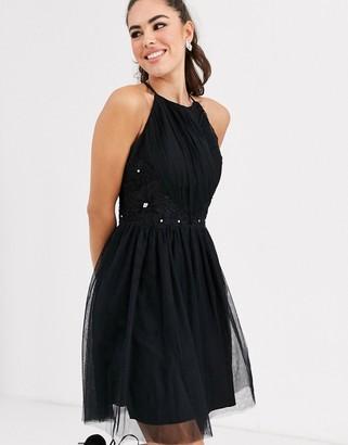 Little Mistress square high neck skater dress-Black