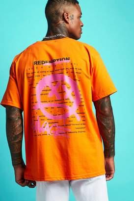 boohoo Oversized Graffiti Front & Back Print T-Shirt