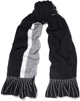 Magaschoni Ruffle-trimmed color-block cashmere scarf