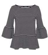 Hallhuber Stripe Top With Wide Flounces