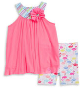 Sweet Heart Rose Sweetheart Rose Baby Girls Baby Girls Tulle Tunic and Flamingo Print Shorts Sets