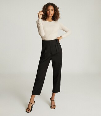 Reiss Lennox Trouser - High Waisted Cropped Trousers in Black