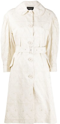 Simone Rocha Tonal-Embroidered Belted Coat
